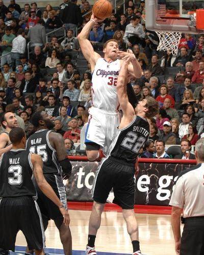 San Antonio Spurs v Los Angeles Clippers: Blake Griffin and Tiago Splitter-Andrew Bernstein-Photo