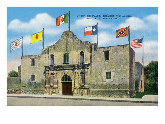 San Antonio, Texas - Exterior View of the Alamo under Six Different Flags, c.1940-Lantern Press-Art Print
