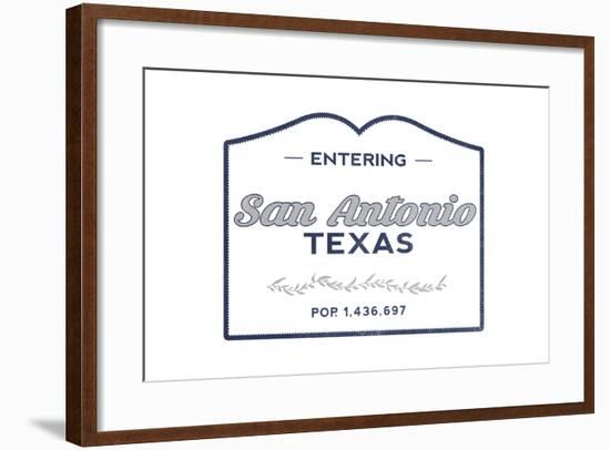 San Antonio, Texas - Now Entering (Blue)-Lantern Press-Framed Art Print