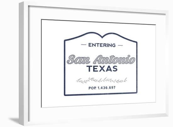 San Antonio, Texas - Now Entering (Blue)-Lantern Press-Framed Art Print