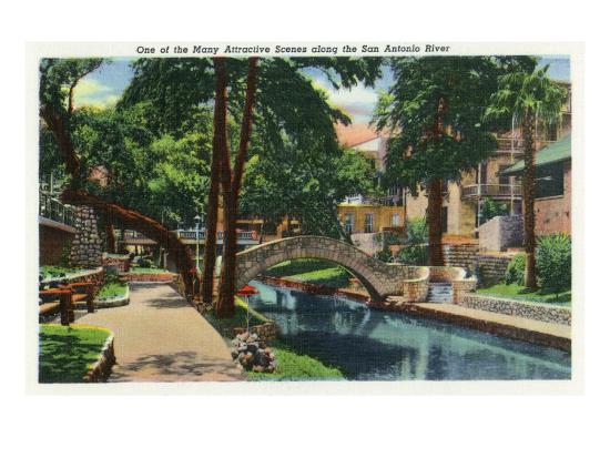 San Antonio, Texas - Scenic View Along the San Antonio River No. 3, c.1944-Lantern Press-Art Print
