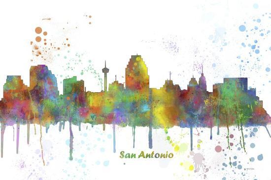 San Antonio Texas Skyline MCLR 1-Marlene Watson-Giclee Print