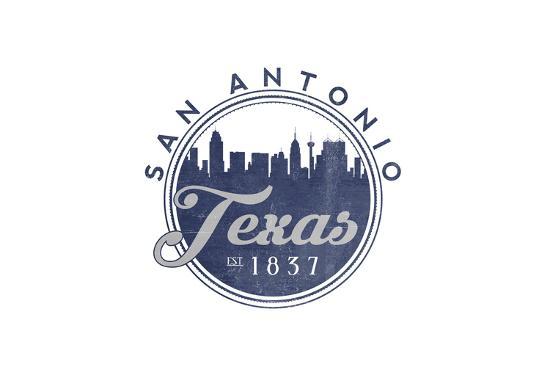 San Antonio, Texas - Skyline Seal (Blue)-Lantern Press-Art Print
