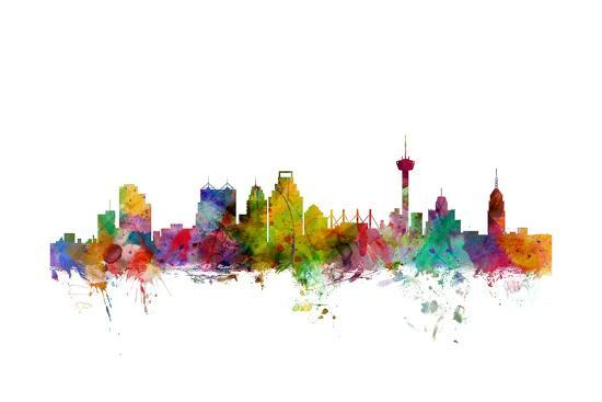 San Antonio Texas Skyline-Michael Tompsett-Art Print