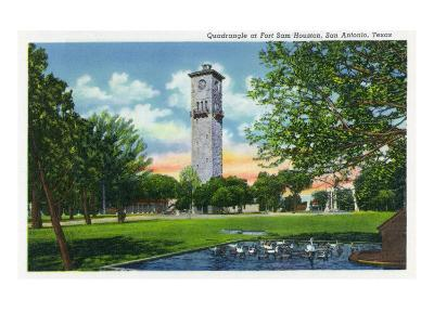 San Antonio, Tx - Exterior View of the Clock Tower from the Fort Sam Houston Quadrangle, c.1944-Lantern Press-Art Print