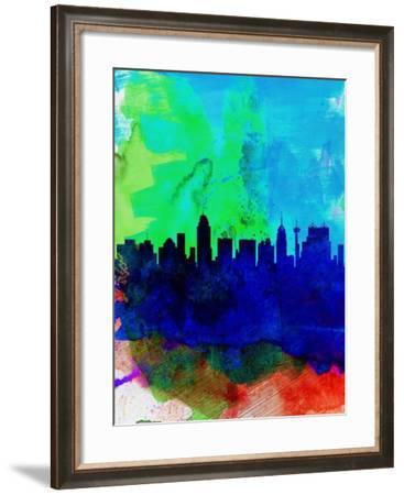 San Antonio Watercolor Skyline-NaxArt-Framed Art Print