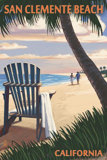 San Clemente Beach, California - Adirondack Chairs and Sunset-Lantern Press-Wall Mural