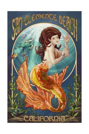 San Clemente Beach, California - Mermaid-Lantern Press-Art Print
