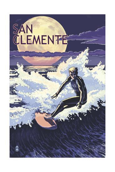 San Clemente Beach, California - Night Surfer-Lantern Press-Art Print