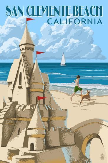 San Clemente Beach, California - Sand Castle-Lantern Press-Wall Mural