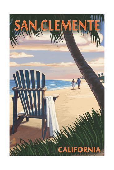 San Clemente, California - Adirondack and Palms-Lantern Press-Art Print