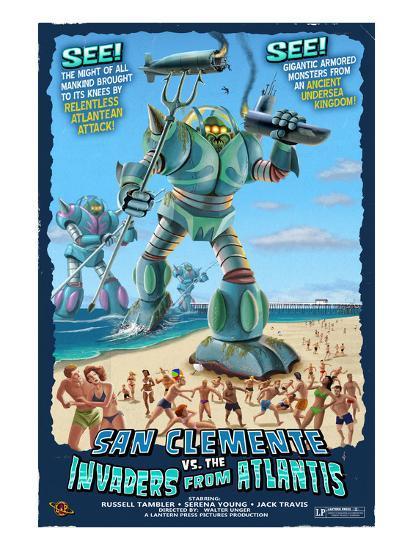 San Clemente, California - Atlantean Invaders-Lantern Press-Art Print