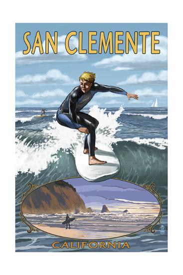 San Clemente, California - Day Surfer with Inset-Lantern Press-Art Print