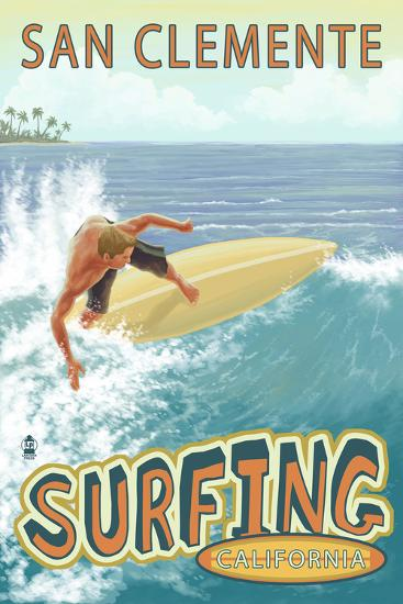San Clemente, California - Surfer Tropical-Lantern Press-Wall Mural