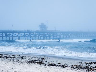 San Clemente Pier with Surfers on a Foggy Day, California, United States of America, North America-Mark Chivers-Photographic Print
