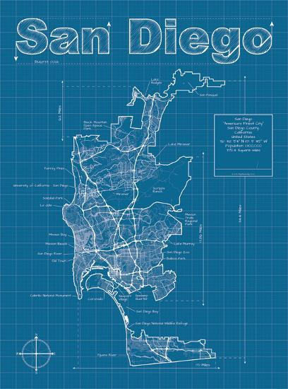 san diego artistic blueprint map art print by christopher estes