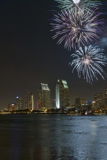 San Diego Bay Fireworks-lpound-Photographic Print