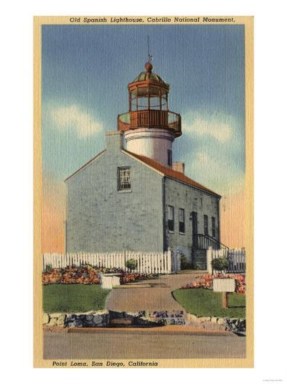 San Diego, CA - Cabrillo National Monument, Point Loma Lighthouse-Lantern Press-Art Print