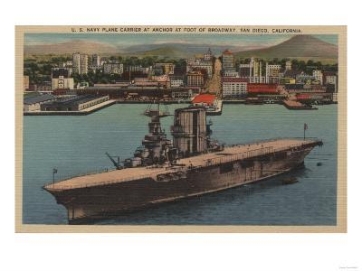 San Diego, CA - View U.S. Navy Aircraft Carrier-Lantern Press-Art Print