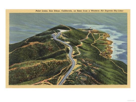 San Diego, California - Aerial View of Point Loma-Lantern Press-Art Print