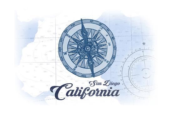 San Diego, California - Compass - Blue - Coastal Icon-Lantern Press-Art Print