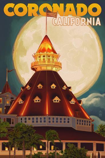 San Diego, California - Hotel Del Coronado and Moon-Lantern Press-Art Print