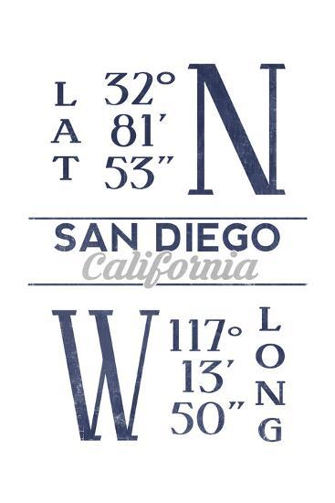 San Diego, California - Latitude and Longitude (Blue)-Lantern Press-Art Print