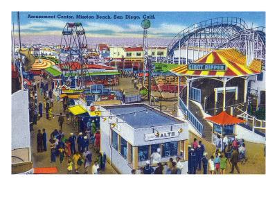 San Diego, California - Mission Beach Amusement Center Scene-Lantern Press-Art Print