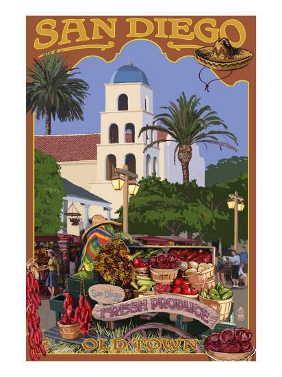 San Diego, California - Old Town-Lantern Press-Art Print