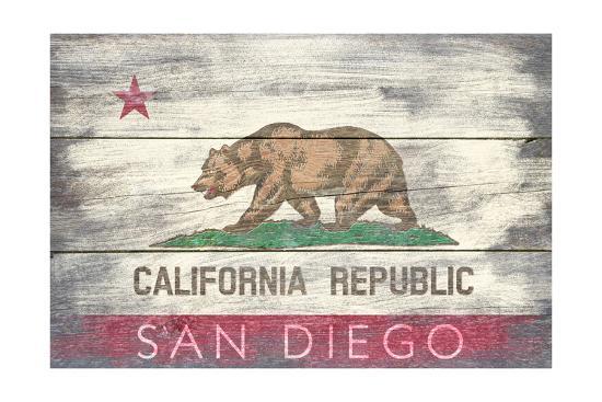 San Diego, California - State Flag - Barnwood Painting-Lantern Press-Art Print
