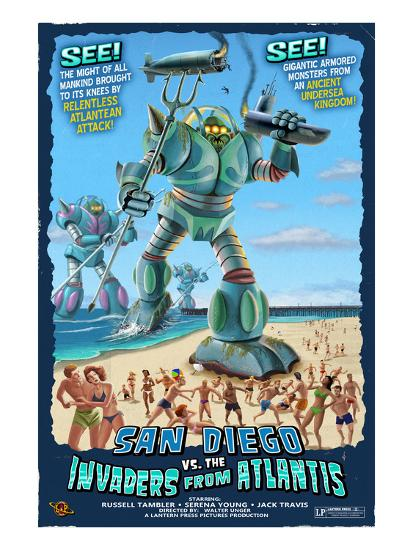 San Diego, California vs. The Atlantean Invaders-Lantern Press-Art Print