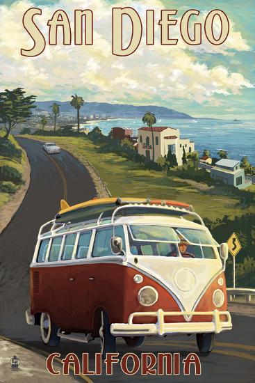 San Diego, California - VW Van Cruise-Lantern Press-Art Print