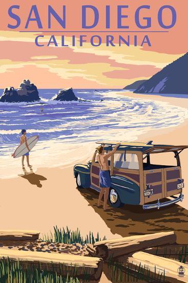 San Diego, California - Woody on Beach-Lantern Press-Art Print