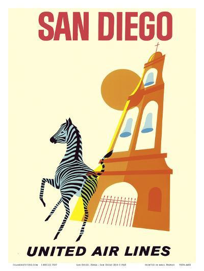 San Diego, California - Zebra - San Diego Zoo - Balboa Park - United Air Lines--Art Print