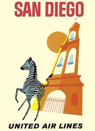 San Diego, California - Zebra - San Diego Zoo - Balboa Park - United Air Lines