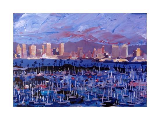 San Diego Skyline with Marina at Dusk-Markus Bleichner-Art Print