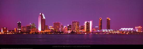 San Diego Skyline Art Print By Christian Michaels Art Com