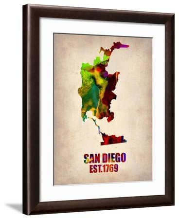 San Diego Watercolor Map-NaxArt-Framed Art Print