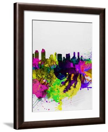 San Diego Watercolor Skyline-NaxArt-Framed Art Print