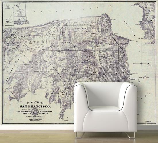 San Francisco - 1861 City And County Map - Retro Self-Adhesive ...