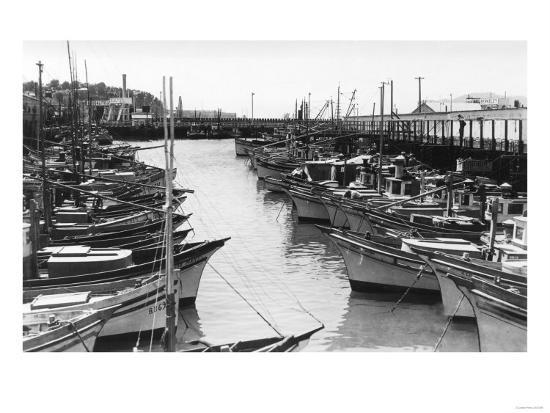 San Francisco, CA Fisherman's Wharf Boats Photograph - San Francisco, CA-Lantern Press-Art Print