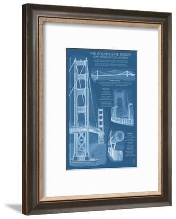 San Francisco, CA, Golden Gate Bridge Technical Blueprint-Lantern Press-Framed Art Print