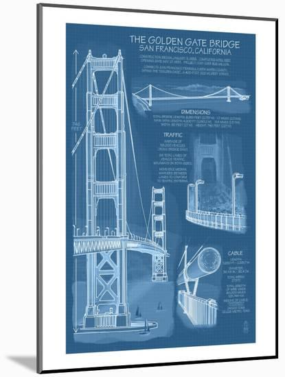 San Francisco, CA, Golden Gate Bridge Technical Blueprint-Lantern Press-Mounted Art Print