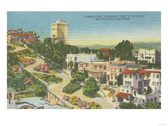 San Francisco, CA - Lombard St. Crooked Street View-Lantern Press-Art Print
