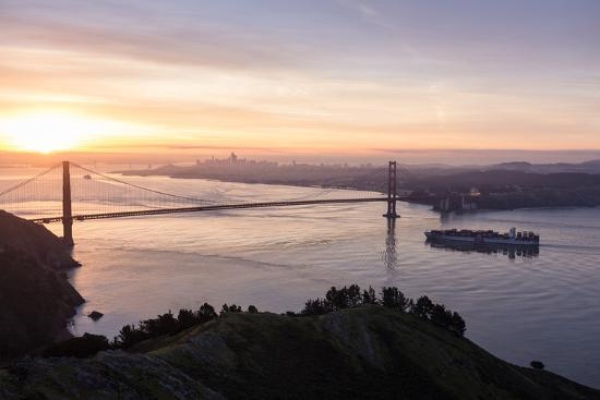 San Francisco, CA, USA: Sunrise View Over The Golden Gate Bridge And The City Of San Francisco-Axel Brunst-Photographic Print