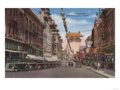 San Francisco, CA - View of Chinatown Main Street-Lantern Press-Art Print