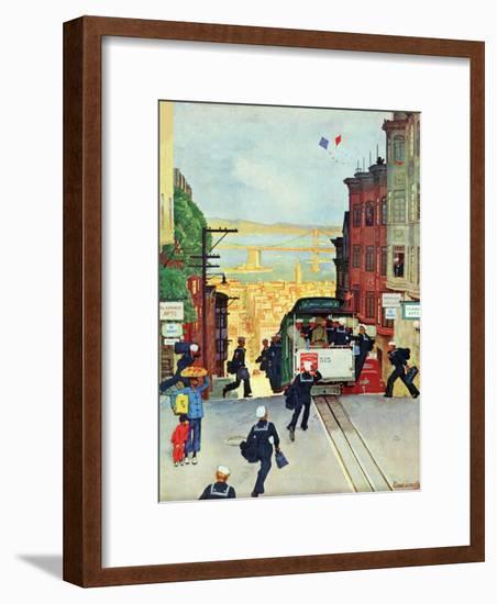 """San Francisco Cable Car,"" September 29, 1945-Mead Schaeffer-Framed Giclee Print"