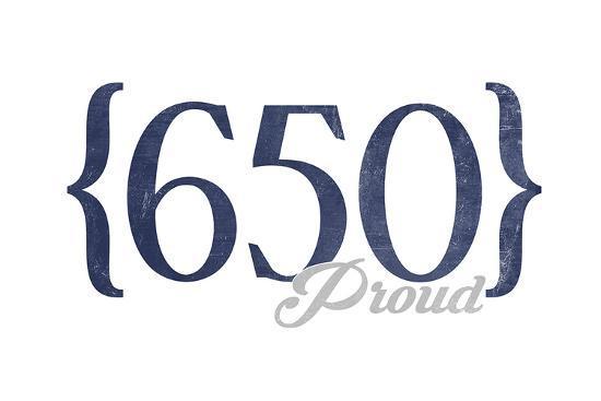 San Francisco, California - 650 Area Code (Blue)-Lantern Press-Art Print