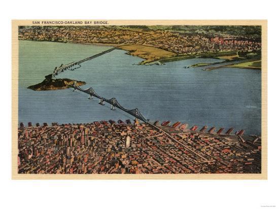 San Francisco, California - Aerial, San Francisco-Oakland Bay Bridge-Lantern Press-Art Print