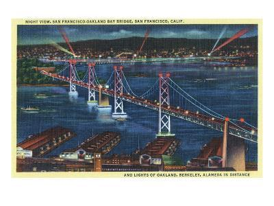 San Francisco, California - Aerial View of Bay Bridge at Night-Lantern Press-Art Print